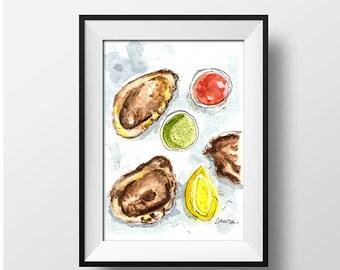 Oyster art, Low Country art, Beach House Decor, Oyster shell print, oyster shell, coastal art, Coastal Home Decor, coastal watercolor