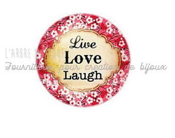 2 cabochons craft love heart message glass 20 mm - N570