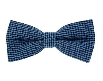 Blue Houndstooth Bowties.Suit Accessoires.Pre-tied Bowties.Mens Bowties