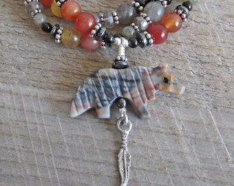 Wolf Spirit Animal Totem Necklace Carved Jasper Stone Pendant Labradorite Onyx Gemstones