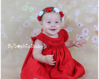 Red Baby Dress, Baby Dress Set, Baby Girl Dress Set, Cotton Baby Dress, Red Baby Dress, Baby Girl Clothes, Flower Girl Dress,  1130