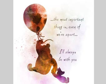 Winnie the Pooh Quote ART PRINT illustration, Piglet, Balloon, Wall Art, Home Decor, Gift
