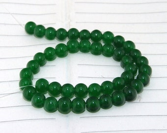 strand  Round Green Jade  Smooth Round Beads ----- 6mm ----- about 45Pieces ----- gemstone beads