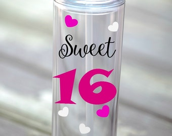 16th Birthday gift for girls, Sweet 16, Birthday skinny tumbler, 16th Birthday gift, Birthday water bottle, Sweet 16 Birthday Gift