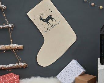 Christmas Reindeer Stocking - Personalized Christmas Stocking - Christmas Decor - Personalized Christmas Sock - Christmas Decoration