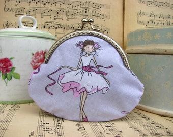 Coin purse clutch with ballet dancers, kiss lock purse