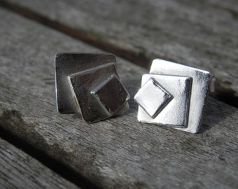 Little silver earrings 3 square Modern Design Sterling SILVER