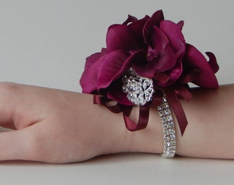 Wine Wrist Corsage, Wine/Burgandy Wrist Corsage, Diamante Wrist Corsage, Mother of the Bride Corsage, Wedding Corsage, Silk Wedding Flowers