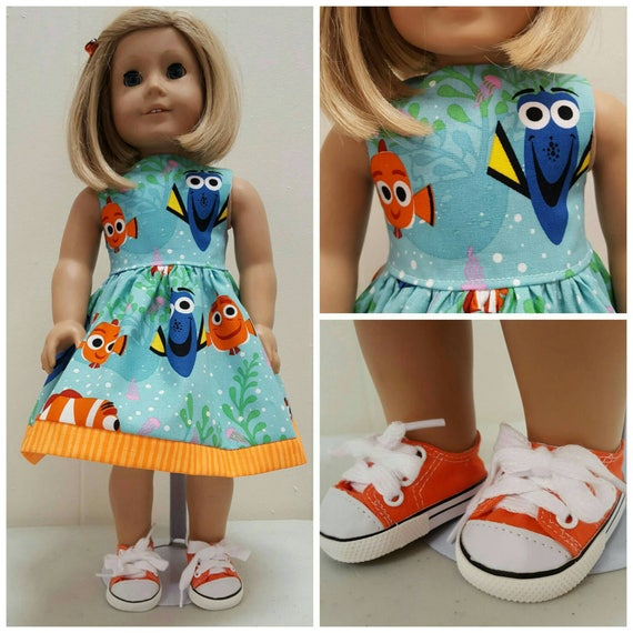Dory and Nemo Dress  American Made 18 Inch Doll Clothes or Shoes