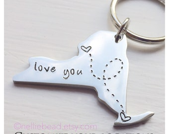 Long Distance Relationship Keychain - State Keychain - New York State Keychain, NY