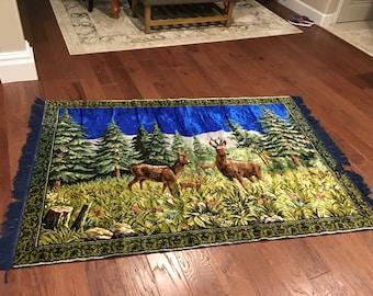 LARGE Velvet like Rug stag elk deer tapestry  vintage huge with blue fringe edge