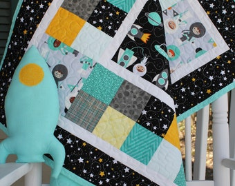 Space Explorers Baby Quilt with Plush Rocketship Toy // Baby Shower Gift // Toddler Gift // Gender Neutral