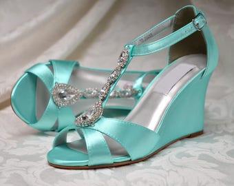 Wedding Shoes- Custom 250 Colors - Wedge Bridal Shoes-Rhinestone Wedding Shoes
