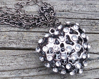 Heart Necklace Heart Chain Necklace Large Heart Necklace Rhinestone Heart Necklace Heart Pendant Necklace Gunmetal Heart Necklace for Teen