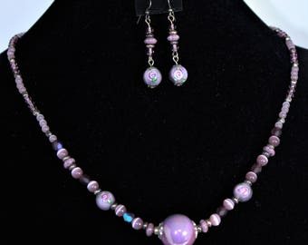 Vintage Lavender necklace and Earrings set with Antiqued silver plated and Czech glass beads