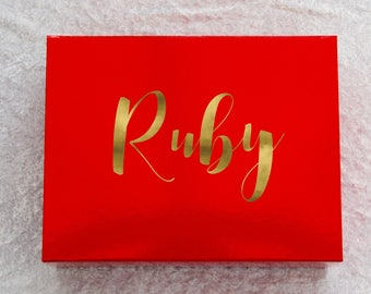 Birthday Gift Box, Monogram Box, Gift for Her, Gloss Red Box, 28x22x11cm, Empty Box, Gift Box, Christmas Box, Personalised Box, Memories Box