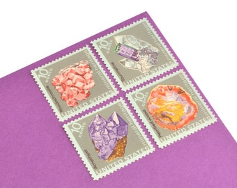 Pack of 24 Unused Pastel Mineral Stamps - 10c - Vintage from 1974 - Unused Postage - Quantity of 24