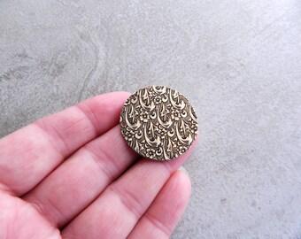 Embossed Brass Floral Disks, 34mm,  Antique  Brass (3pcs)