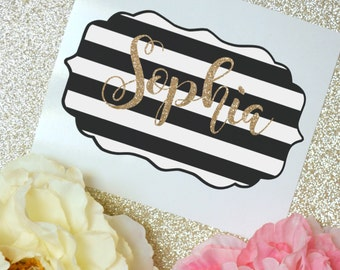 Black and White Striped Monogram Glossy and Glitter Vinyl Decal, Glossy and Glitter Monogram Sticker