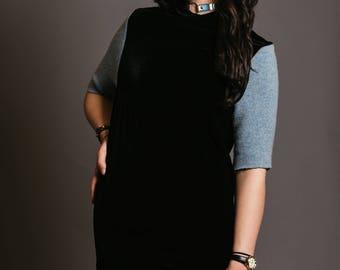 EllieF Black Velvet Dress with Blue Sleeves