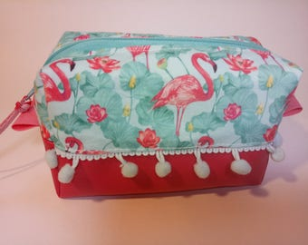 Zipper pouch - Box style cool flamingo cotton in tones of green/blue and pink with a hot pink faux leather base.