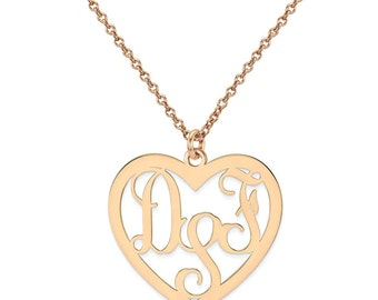 Custom Made 3 Initials Monogram Heart Necklace in 14k Rose Gold Over 925 Sterling Silver - Monogram Necklace - Nameplate Necklace