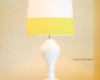 Yellow line | Lamp Shade. Diameter 34 cm (13.4 in), 23 cm (9 in), 45 cm (17.7 in). Ceiling or floor, table lamp, fabric, hand painted