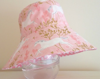Girls hat in magical unicorn fabric- summer hat, bucket hat