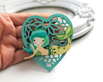 Kleine Meerjungfrau Hölzerne Brosche Kawaii süße Lolita Egl grüne Herz