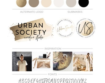 Gold Foil Brush Stroke Logo Premade Branding Kit Gold Glitter Brushstrokes Logo Watercolor Gold Logo Design Makeup Logo Beauty Boutique Logo