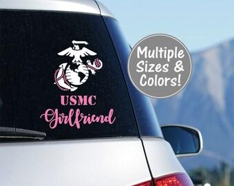 USMC Girlfriend Car Decal Marine Girlfriend Decal for Car Decal Marine Corps Decal USMC Decal Gift for Her, Decal USMC Love Marine Car Decal