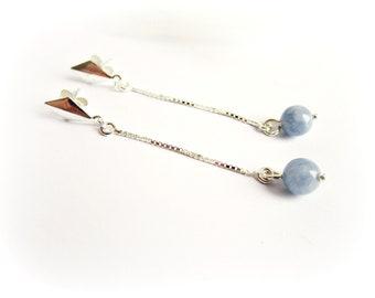 Orecchini angelite e argento 925 pendenti catena argento 925 pietra azzurra orecchini pietre dure pendenti pietre argento regalo per lei