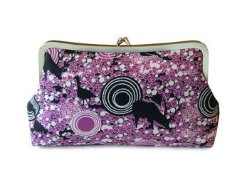 Purple clutch purse, Metal frame purse, Everyday bag, Casual bag, Small purple handbag, Purple fabric clutch, Handmade clutch, Animal clutch