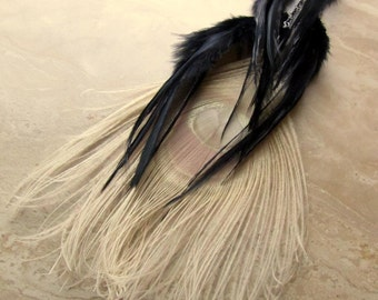 White Peacock Single Feather Earring - Bleached Peacock and Black Rooster Feathers - Shadow