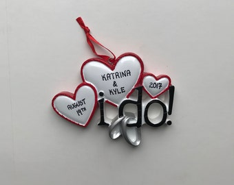 Gift for Newlyweds / Personalized Wedding Ornaments / Christmas Ornament for Couples / Just Married / I Do / First Christmas
