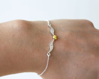 Golden Ball Bracelet-Handmade Sterling Silver 925 with18k Gold Plated-Glossy Finish-Silver Bracelet Chain