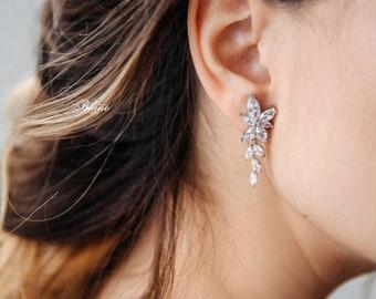 Bridal Floral Earrings, Wedding Zirconia Earrings, Bridesmaid Earrings, Bridal Cz Earrings, Bridal Party Jewelry Gift, Crystal Earrings-LETA