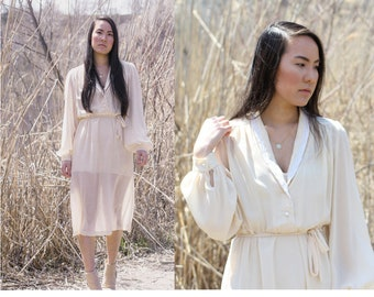 Vintage cream sheer midi dress with pearl buttons and lace collar, flowy and bohemian style, girly and feminine