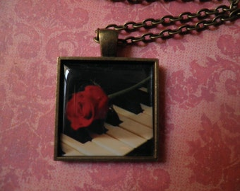 A Red Rose on Piano Keys  Necklace