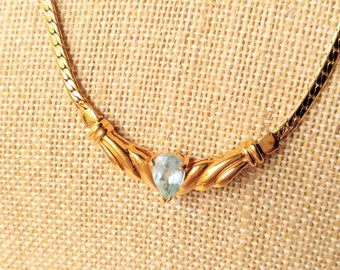 BEAUTIFUL Vintage Signed JC Aquamarine Gold Necklace-Stone-Glass-Unusual-All Orders Only 99c Shipping!