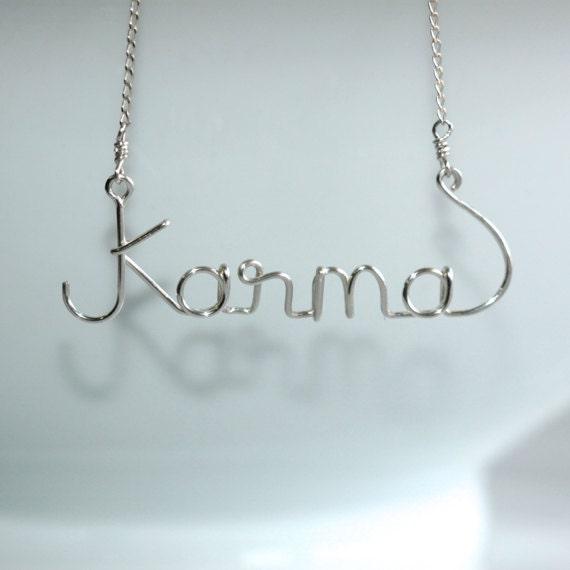 Wire Name Necklace Karma Wire Word Art Karma Jewelry