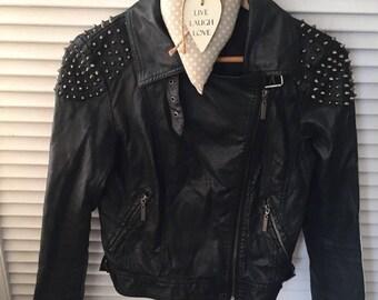 Funky Punk BLack faux leather BIKER JACKET  studded Jacket 10,BUCKLE detail