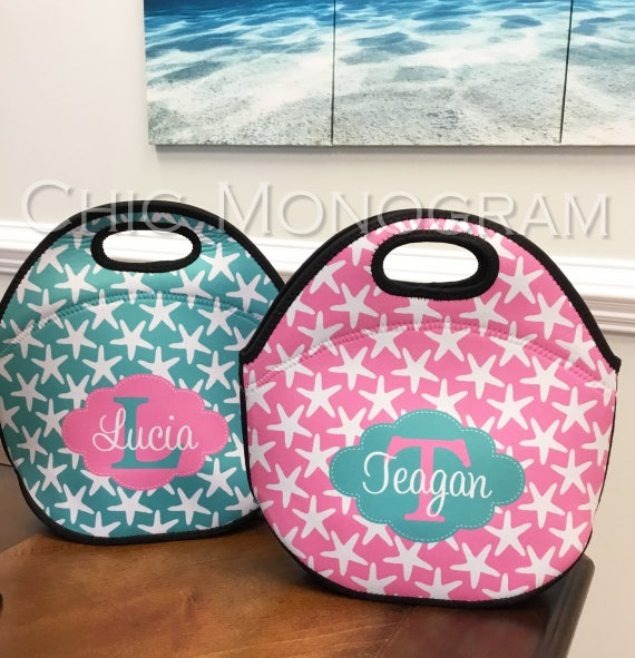 Small Gift Ideas For Teachers Insulated Lunch Bag Personalized Lunch Box Lunch Tote Personalized Lunchbox Custom Monogram Nautical Beachy