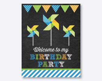 Instant Download, Pinwheel Welcome Sign, Pinwheel Birthday Sign, Pinwheel Door Sign, Pinwheel Party Printable, Chalkboard (CKB.09)