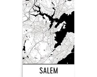 Salem Map, Salem Art, Salem Print, Salem Massachusetts Poster, Salem Wall Art, Map of Salem, Salem Gift, Salem Poster, Salem Decor, Print