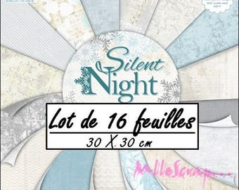 """Set of 16 sheets 30.5 X 30.5 cm """"SILENT NIGHT"""" background papers (ref.110). *."""