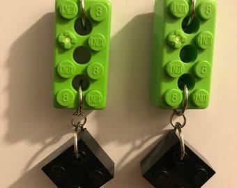 Handmade Green K'NEX & Black LEGO Dangly Earrings