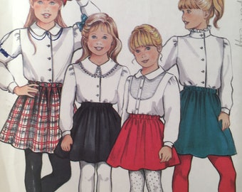 1990s Girl's Skirt, New Look 6039, Sewing Pattern, Flared Skirt, Peter Pan Collar, Elastic Waist Skirt, Long Sleeve Blouse, Cuff Sleeve