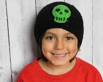 Green skull beanie - skull hat - skull cap - halloween beanie - beanie with skull - gothic beanie - skull gift - green skull
