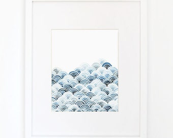 Blue Waves - Watercolor Art Print